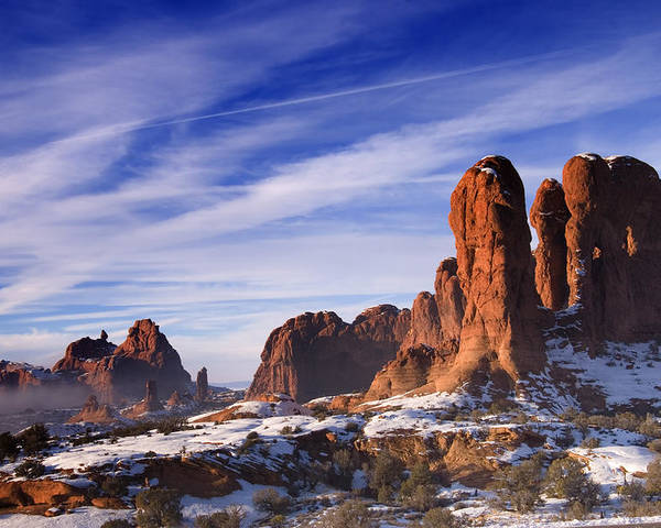 Arches National Park Poster featuring the photograph Mist Rising In Arches National Park by Utah Images