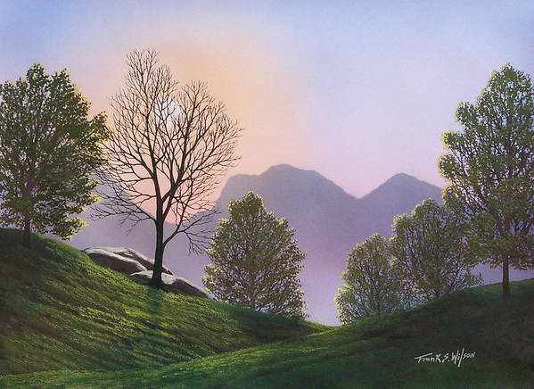 Landscape Poster featuring the painting Misty Spring Meadow by Frank Wilson