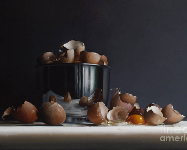Still Poster featuring the painting Mixing Bowl With Eggs by Larry Preston