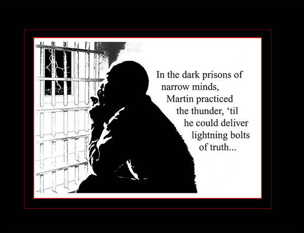 Martin Luther King Poster featuring the digital art MLK in Jail by Richard Gordon