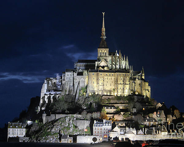 Mont St Michel Poster featuring the photograph Mont St. Michel At Night by Joshua Francia