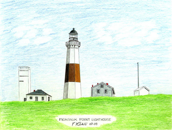 Lighthouse Drawings Poster featuring the drawing Montauk Point Lighthouse by Frederic Kohli