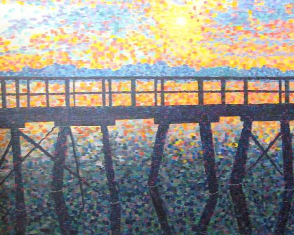 Seascape Poster featuring the painting Mosiac Pier by Sheryl Sutherland