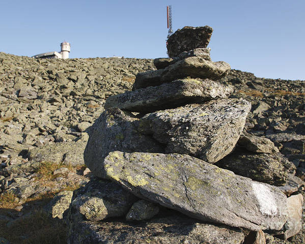 Rock Cairn Poster featuring the photograph Mount Washington State Park - White Mountains New Hampshire Usa by Erin Paul Donovan