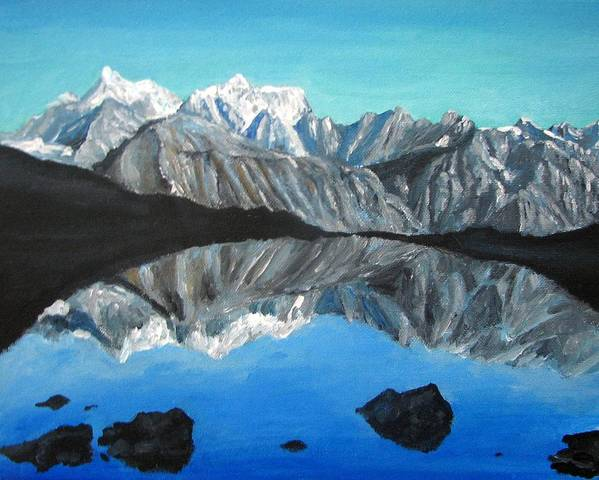 Smoky Mountains Poster featuring the painting Mountains Landscape Acrylic Painting by Natalja Picugina