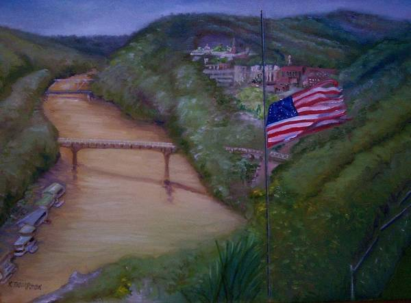 Flag Poster featuring the painting Muddy River by Karen Thompson