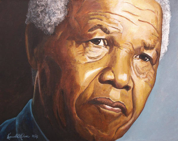 Portrait Poster featuring the painting Nelson Mandela by Kenneth Kelsoe