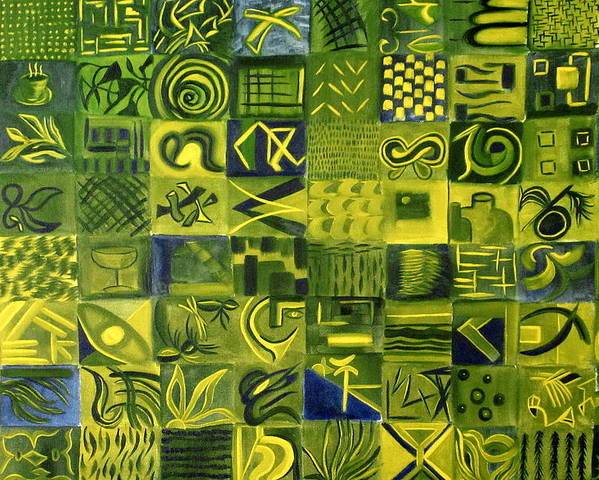 Green Poster featuring the painting Night On The Lawn by Patricia Cleasby