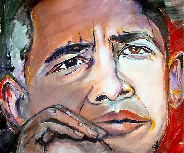 Obama Poster featuring the painting Obama II by Valerie Wolf