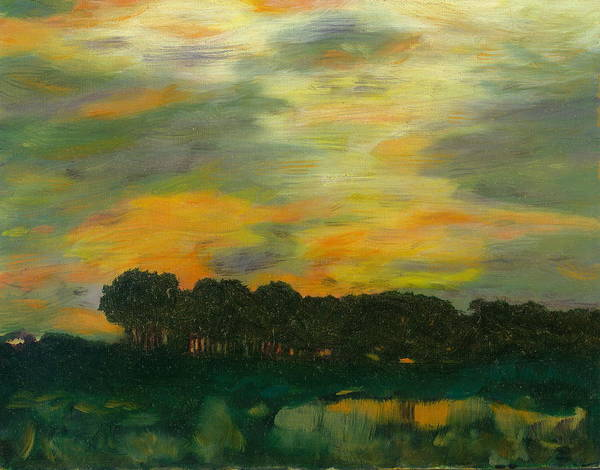 Tonalists Landscape Sky Evening Trees Reflections Poster featuring the painting Ode To Eaton by Paula Emery
