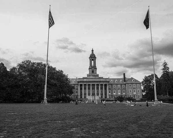 Penn State Poster featuring the photograph Old Main Penn State Black And White by John McGraw
