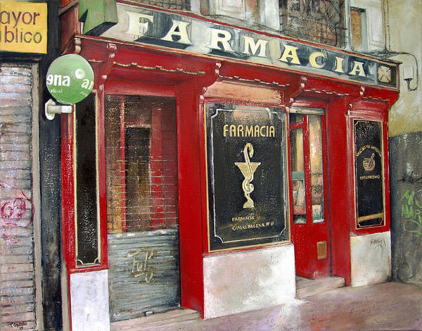 Farmacia Poster featuring the painting Old Pharmacy by Tomas Castano
