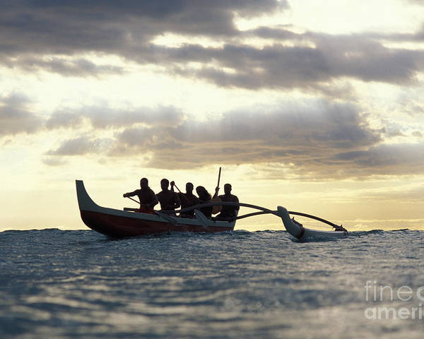 Blue Poster featuring the photograph Outrigger Canoe by Vince Cavataio - Printscapes