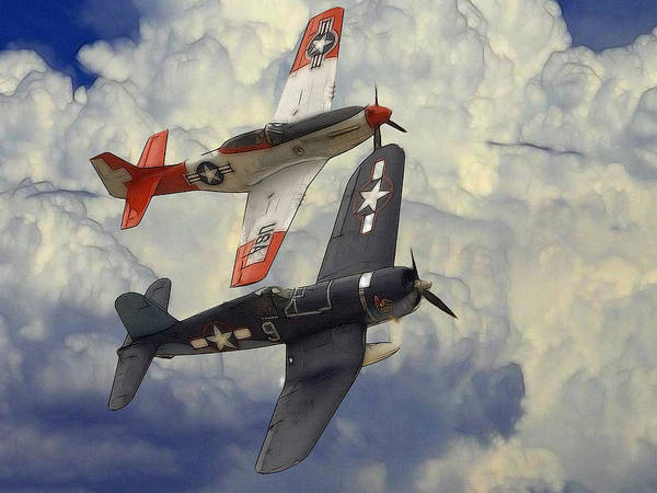 Aircraft P51 Mustang World War Ii Plane Airplane Victory Fighter Battle Cloud Clouds Sky Art Aviation Military Force Corsair Navy Jet Spitfire Painting Poster featuring the digital art Over The Clouds by Steve K
