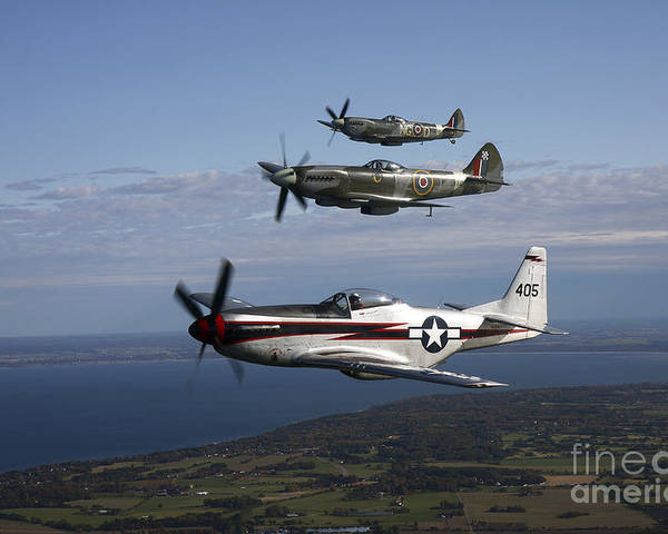 Transportation Poster featuring the photograph P-51 Cavalier Mustang With Supermarine by Daniel Karlsson
