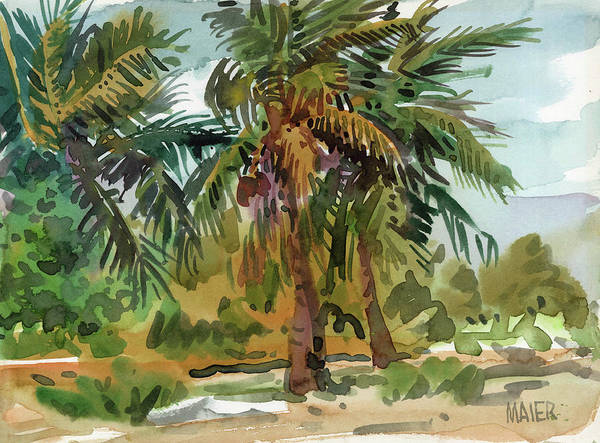 Key West Poster featuring the painting Palms in Key West by Donald Maier