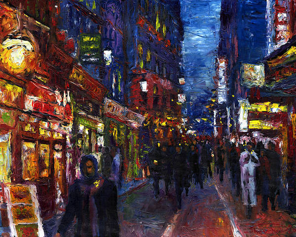 Oil Poster featuring the painting Paris Quartier Latin 01 by Yuriy Shevchuk