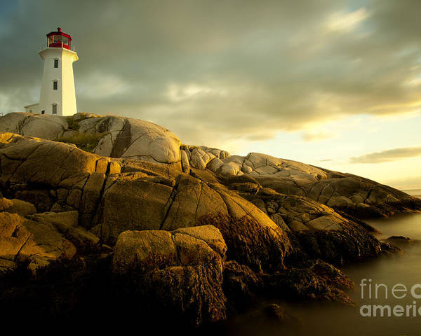 Cove Poster featuring the photograph Peggys Cove Lighthouse Nova Scotia by Nick Jene