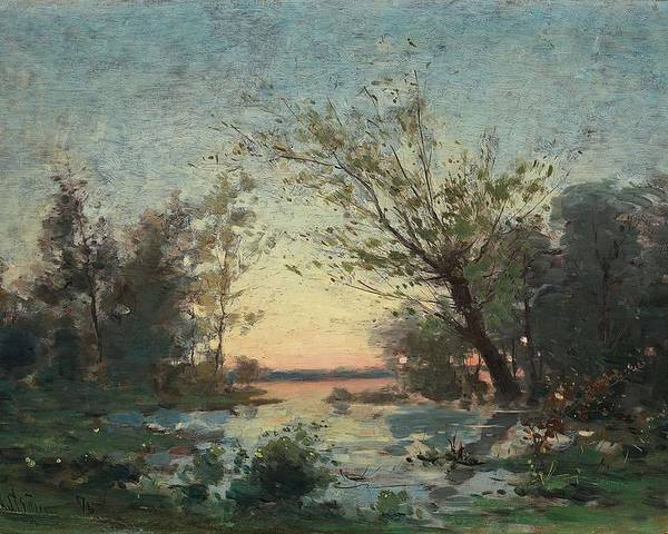 Nature Poster featuring the painting Per Ekstrom, French Landscape In Sunset. by Per Ekstrom