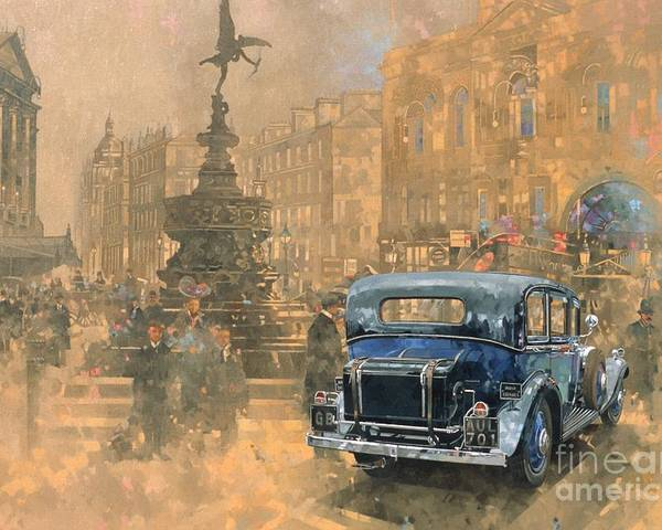 Rolls Royce; Car; Vehicle; Vintage; Automobile; Fountain; West End; London; Piccadilly Circus; Classic Cars; Vintage Cars; Nostalgia; Nostalgic; London Poster featuring the painting Phantom In Piccadilly by Peter Miller