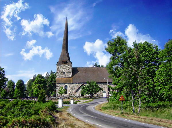 Road Poster featuring the photograph Picturesque Rural Church by Anthony Dezenzio