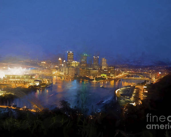 #digitally Painted Poster featuring the photograph Pittsburgh Pennsylvania At Night by Jan Tyler