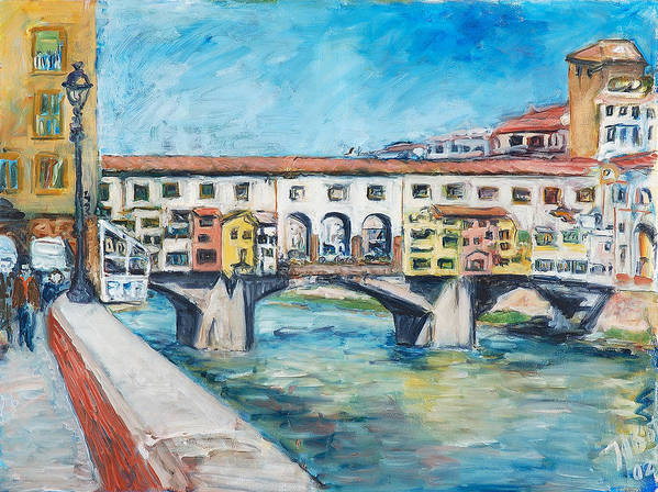 Bridge Italy Old Water Sky People Houses Poster featuring the painting Pontevecchio by Joan De Bot
