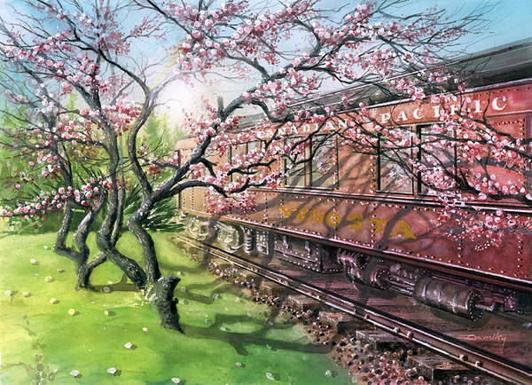Landscape Poster featuring the painting Port Moody Train Station by Dumitru Barliga