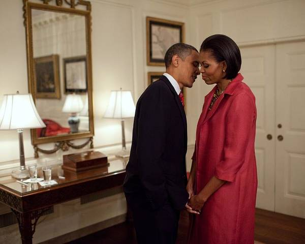 History Poster featuring the photograph President And Michelle Obama Wait by Everett
