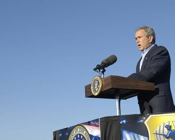 History Poster featuring the photograph President George W. Bush Speaking by Everett