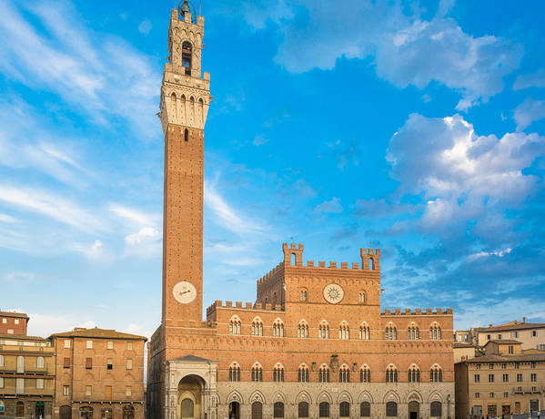 Ancient Poster featuring the photograph Public Palace With The Torre Del Mangia In Siena, Tuscany by Fabio Migliorucci