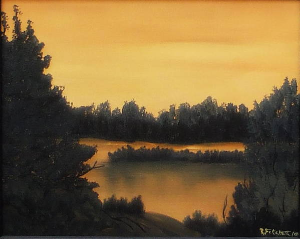 Sunsets Poster featuring the painting Quiet Sunset by Rebecca Fitchett