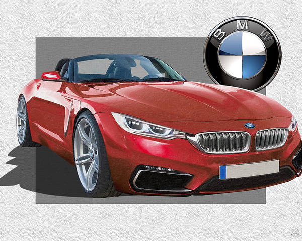 �bmw� Collection By Serge Averbukh Poster featuring the photograph Red 2018 B M W Z 5 with 3 D Badge by Serge Averbukh