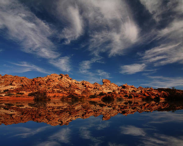 Arches Canyonlands Clouds Landscape Moab Mountains National Outd Poster featuring the photograph Redrock Reflections by Mark Smith