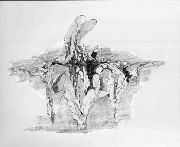 Landscape Poster featuring the drawing Rockscape 5 by Padamvir Singh