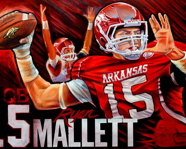 Sports Poster featuring the painting Ryan Mallett by Jim Wetherington