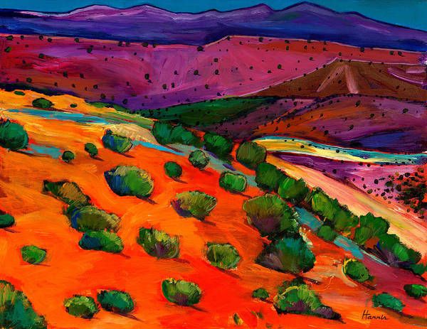 Southwest Landscapes Poster featuring the painting Sage Slopes by Johnathan Harris
