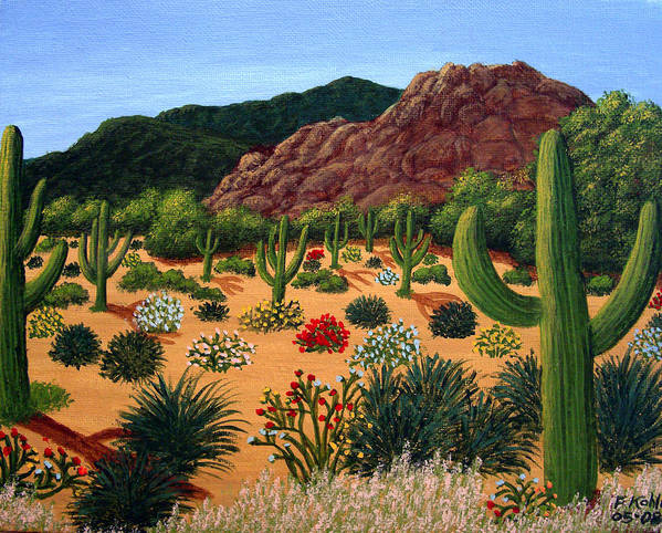 Landscape Paintings Poster featuring the painting Saguaro Desert by Frederic Kohli