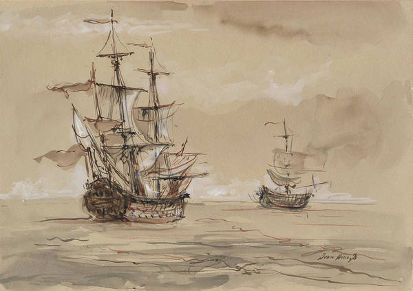 Sail Ships Poster featuring the painting Sail Ships by Juan Bosco