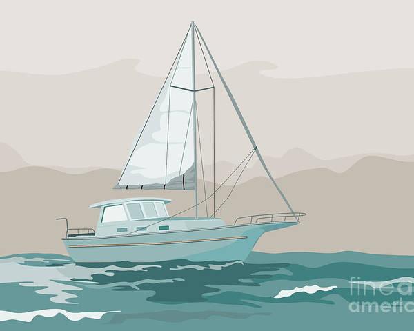 Sailing Ship Poster featuring the digital art Sailboat Retro by Aloysius Patrimonio