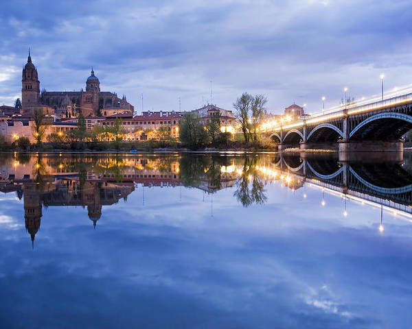 Ancient; Architecture; Art; Blue; Bridge; Building; Church; City; Construction; Europe; Gothic; Historic; Medieval; Night; Old; Place; Religion; Religious; Sky; Stone; Street; Temple; Tourism; Tourist; Tower; Travel; Window; World Poster featuring the photograph Salamanca by Andre Goncalves