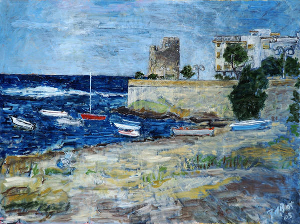 Sea Sky Sardinia Italy Boats Castle Beach Blue Poster featuring the painting Santa Lucia by Joan De Bot