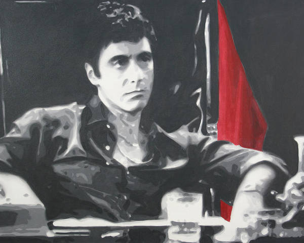 Scarface Poster featuring the painting Scarface by Luis Ludzska