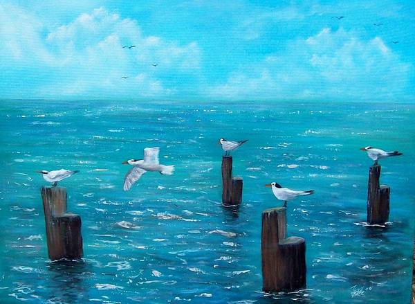 Seascape Poster featuring the painting Seagull Seascape by Tony Rodriguez