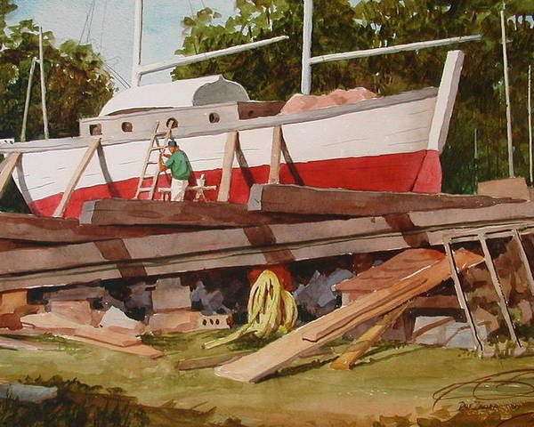 Boats Poster featuring the painting Second Time Around by Faye Ziegler