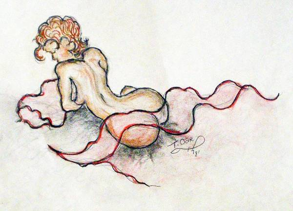 Nude Poster featuring the drawing Self Portrait At 19 by Tammera Malicki-Wong