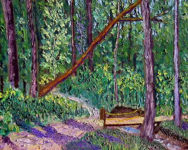 Landscape Poster featuring the painting SEWP Trail Bridge by Stan Hamilton