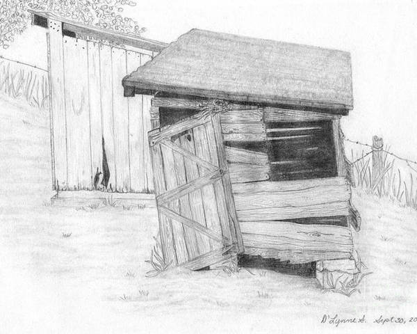 Wpa Poster featuring the drawing Shed And Wpa Outhouse On Johnson Farm by Tree Whisper Art - DLynneS