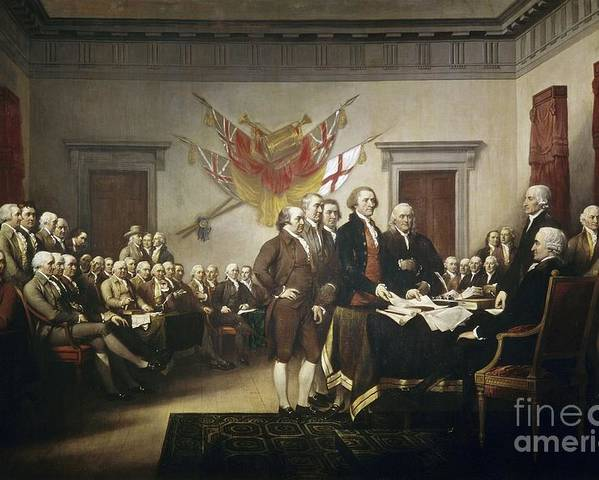 Signing Poster featuring the painting Signing The Declaration Of Independence by John Trumbull