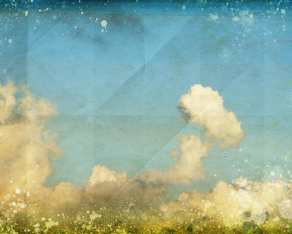 Abstract Poster featuring the photograph Sky And Cloud On Old Grunge Paper by Setsiri Silapasuwanchai